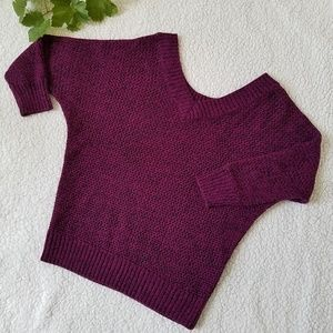 Express Purple Open Crochet Knit V-neck Sweater